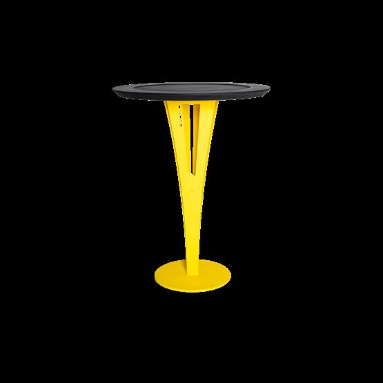Table d'appoint AUGUSTIN - acier jaune et valchromat - Design : Blaq&Co