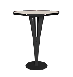 FELICIEN side table - black steel and white marble ceramics