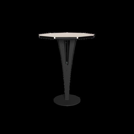 Table d'appoint FELICIEN - acier noir et céramique marbre blanc - Design : Blaq&Co