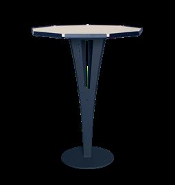 Table d'appoint FELICIEN - acier bleu et céramique marbre blanc