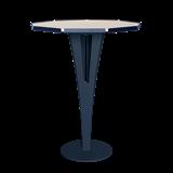 Table d'appoint FELICIEN - acier bleu et céramique marbre blanc  12