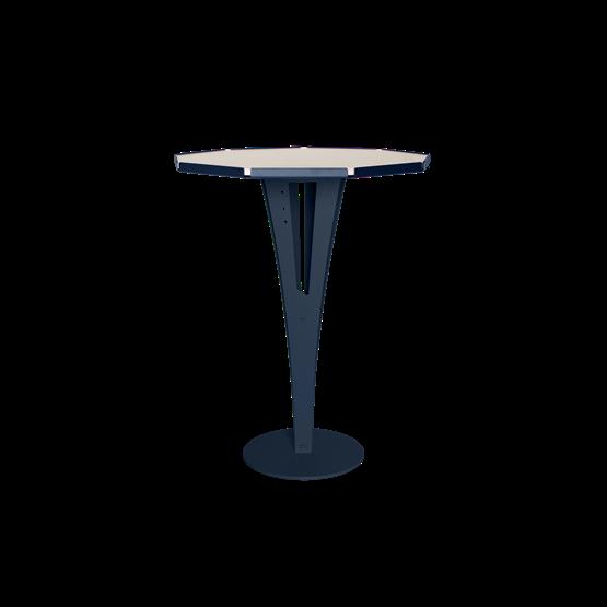 Table d'appoint FELICIEN - acier bleu et céramique marbre blanc  - Design : Blaq&Co