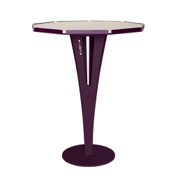 FELICIEN side table - purple steel and white marble ceramics