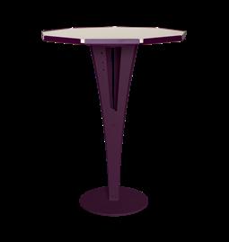 Table d'appoint FELICIEN - acier pourpre et céramique marbre blanc