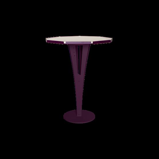 Table d'appoint FELICIEN - acier pourpre et céramique marbre blanc  - Design : Blaq&Co
