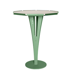 FELICIEN side table - green steel and white marble ceramics