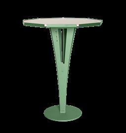 Table d'appoint FELICIEN - acier vert et céramique marbre blanc
