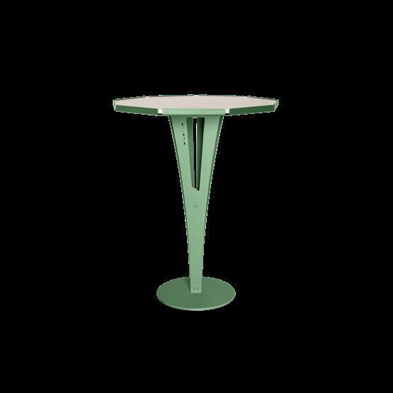 Table d'appoint FELICIEN - acier vert et céramique marbre blanc   - Design : Blaq&Co