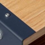 Meuble de rangement HiFi et BDs ESSENI - acier rouge électrique et chêne  5