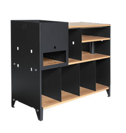 ESSENI HiFi and comics storage cabinet - black steel and oak