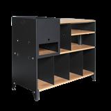 ESSENI HiFi and comics storage cabinet - black steel and oak  11