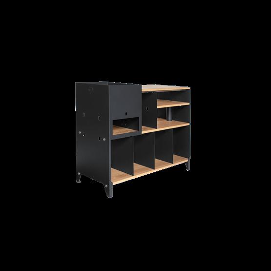 ESSENI HiFi and comics storage cabinet - black steel and oak  - Design : Blaq&Co