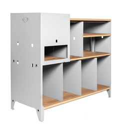 ESSENI hi-fi and comic book storage cabinet - white steel and oak