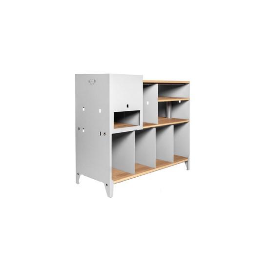 ESSENI hi-fi and comic book storage cabinet - white steel and oak  - Design : Blaq&Co