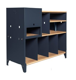 HiFi and comics storage cabinet ESSENI - blue steel and oak