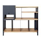 HiFi and comics storage cabinet ESSENI - gentian blue steel and oak  12