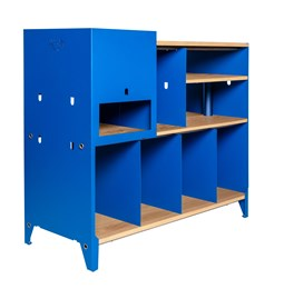 HiFi and comics storage cabinet ESSENI - gentian blue steel and oak