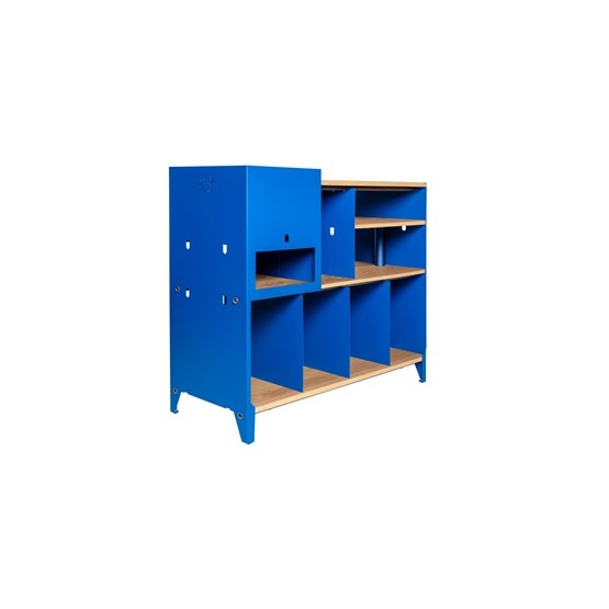 HiFi and comics storage cabinet ESSENI - gentian blue steel and oak  - Design : Blaq&Co