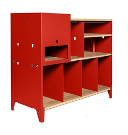 ESSENI HiFi and comics storage cabinet - electric red steel and oak
