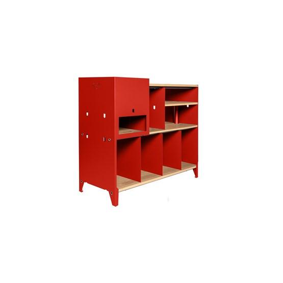 Meuble de rangement HiFi et BDs ESSENI - acier rouge électrique et chêne  - Design : Blaq&Co