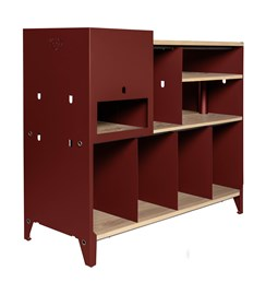 HiFi and comics storage cabinet ESSENI - wine red steel and oak