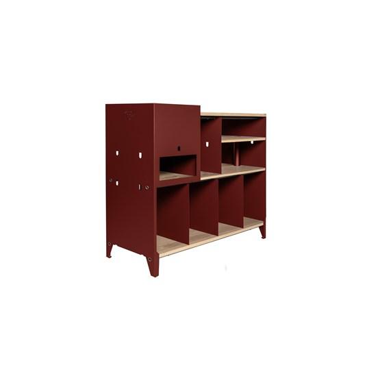 Meuble de rangement HiFi et BDs ESSENI - acier rouge vin et chêne  - Design : Blaq&Co