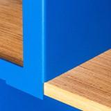 HiFi and comics storage cabinet ESSENI - red wine steel and beechwood  4