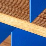 HiFi and comics storage cabinet ESSENI - red wine steel and beechwood  6