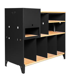 HiFi and comics storage cabinet ESSENI - black steel and beechwood