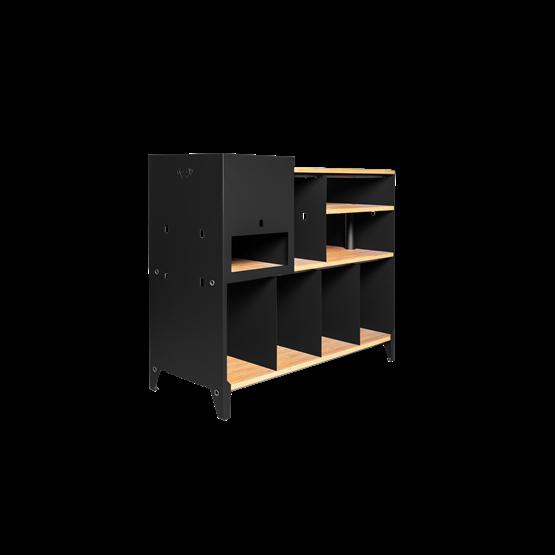 Meuble de rangement HiFi et BDs ESSENI - acier noir et hêtre - Design : Blaq&Co