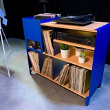 HiFi and comics storage cabinet ESSENI - gentian blue steel and beech wood  5