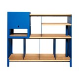 HiFi and comics storage cabinet ESSENI - gentian blue steel and beech wood  8
