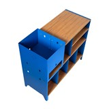 HiFi and comics storage cabinet ESSENI - gentian blue steel and beech wood  9