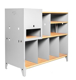 HiFi and comics storage cabinet ESSENI - white steel and beechwood