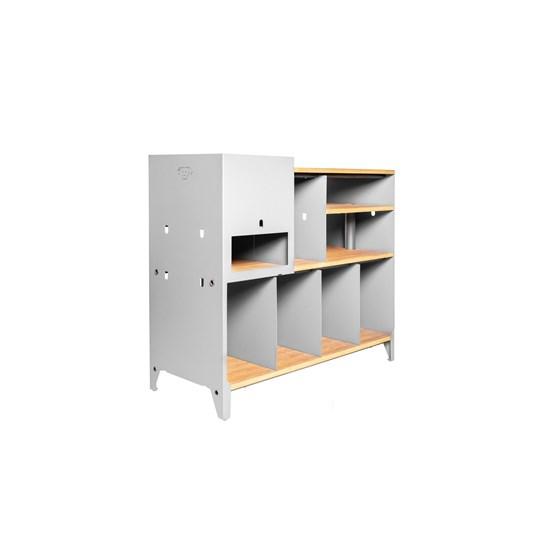 Meuble de rangement HiFi et BDs ESSENI - acier blanc et hêtre  - Design : Blaq&Co
