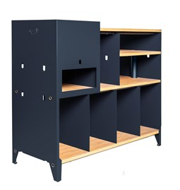 HiFi and comics storage cabinet ESSENI - blue steel and beechwood