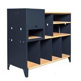 HiFi and comics storage cabinet ESSENI - blue steel and beechwood  10