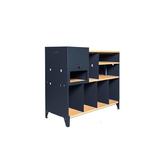 HiFi and comics storage cabinet ESSENI - blue steel and beechwood  - Design : Blaq&Co