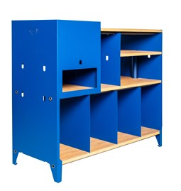 HiFi and comics storage cabinet ESSENI - gentian blue steel and beech wood