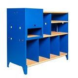 HiFi and comics storage cabinet ESSENI - gentian blue steel and beech wood  10