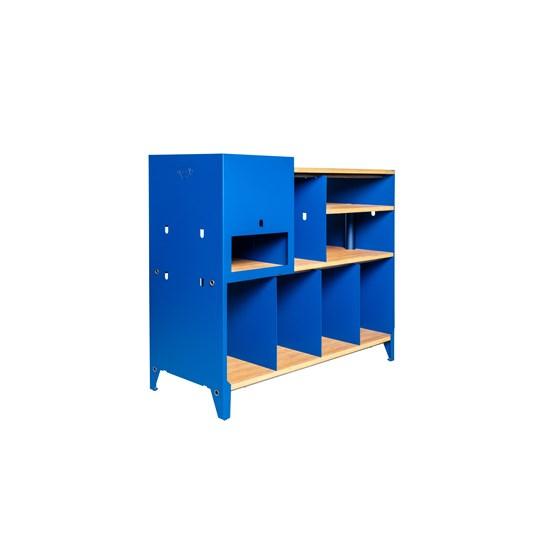 Meuble de rangement HiFi et BDs ESSENI - acier bleu gentiane et hêtre  - Design : Blaq&Co