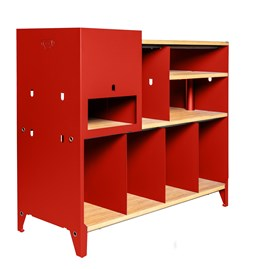 HiFi and comics storage cabinet ESSENI - electric red steel and beech