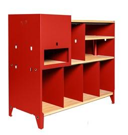 Meuble de rangement HiFi et BDs ESSENI - acier rouge électrique et hêtre