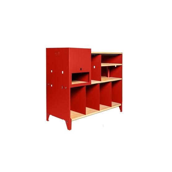 Meuble de rangement HiFi et BDs ESSENI - acier rouge électrique et hêtre  - Design : Blaq&Co