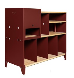 HiFi and comics storage cabinet ESSENI - red wine steel and beechwood