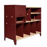 HiFi and comics storage cabinet ESSENI - red wine steel and beechwood  10