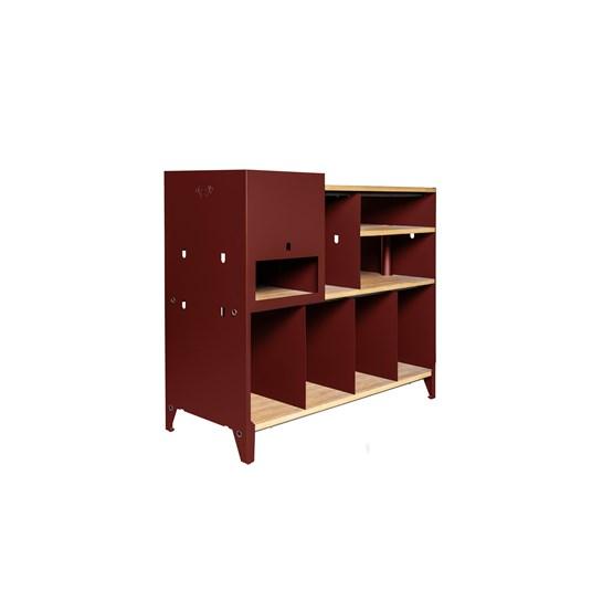 HiFi and comics storage cabinet ESSENI - red wine steel and beechwood  - Design : Blaq&Co