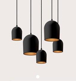 Set of 5 black Archy pendant light - 2 medium & 3 small