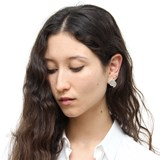 Offset disks stud earrings - silver 4