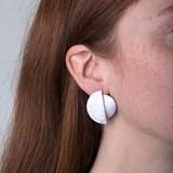 Stud earrings moon eclipse - silver 4
